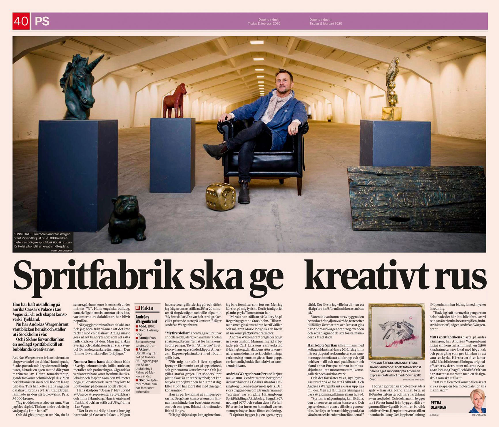 Andreas Wargenbrant in Sweden's leading financial newspaper